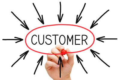 Marker pen circling the word 'Customer' with arrows pointing to it