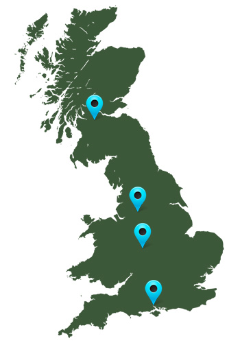Map of the UK with pins of where Associated Pallets distribute their products